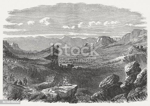 Valley of Elah (1 Samuel 17, 2). Wood engraving, published in 1886.