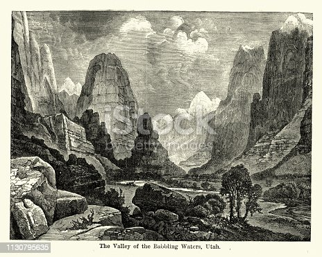 Vintage engraving of Valley of the Babbling Waters, Utah, USA, 19th Century