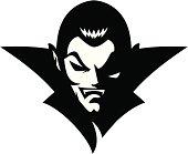 Vampire head mascot B&W