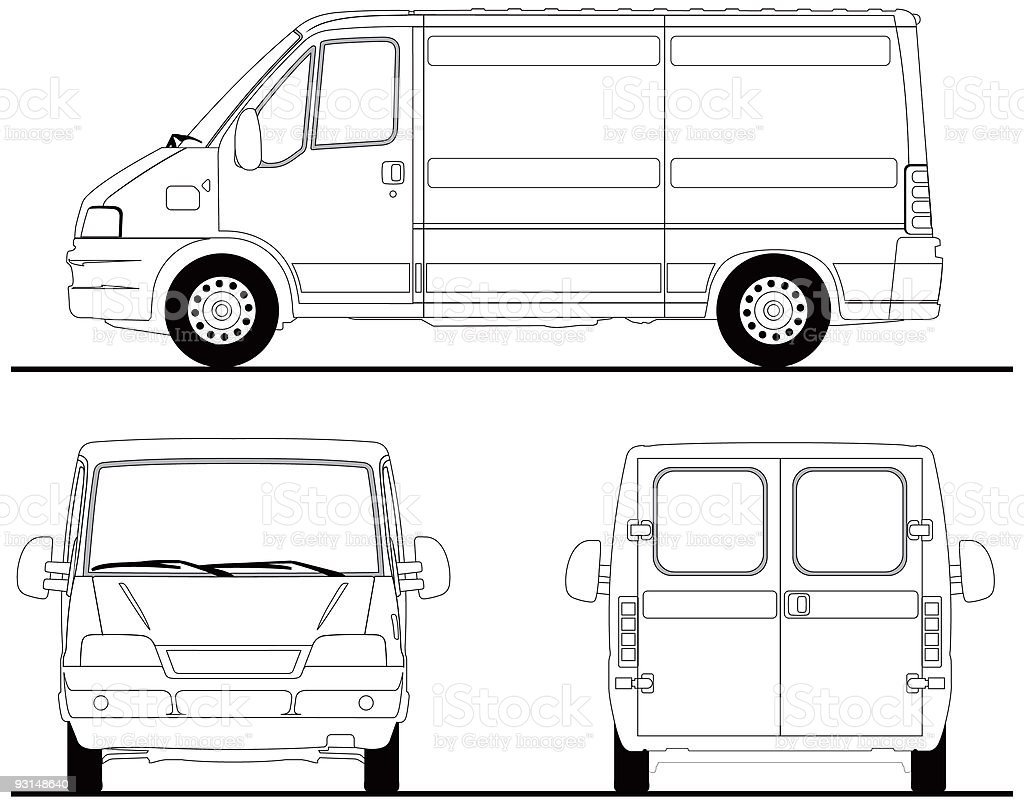 Van - leftside, front and back [vector] vector art illustration