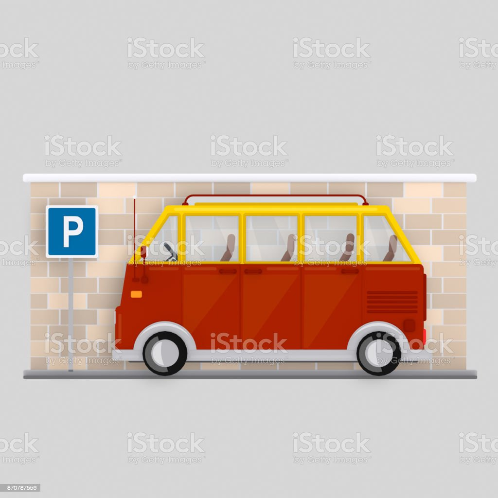 136db9537a Van Parked In Parking Area Stock Vector Art   More Images of Balding ...