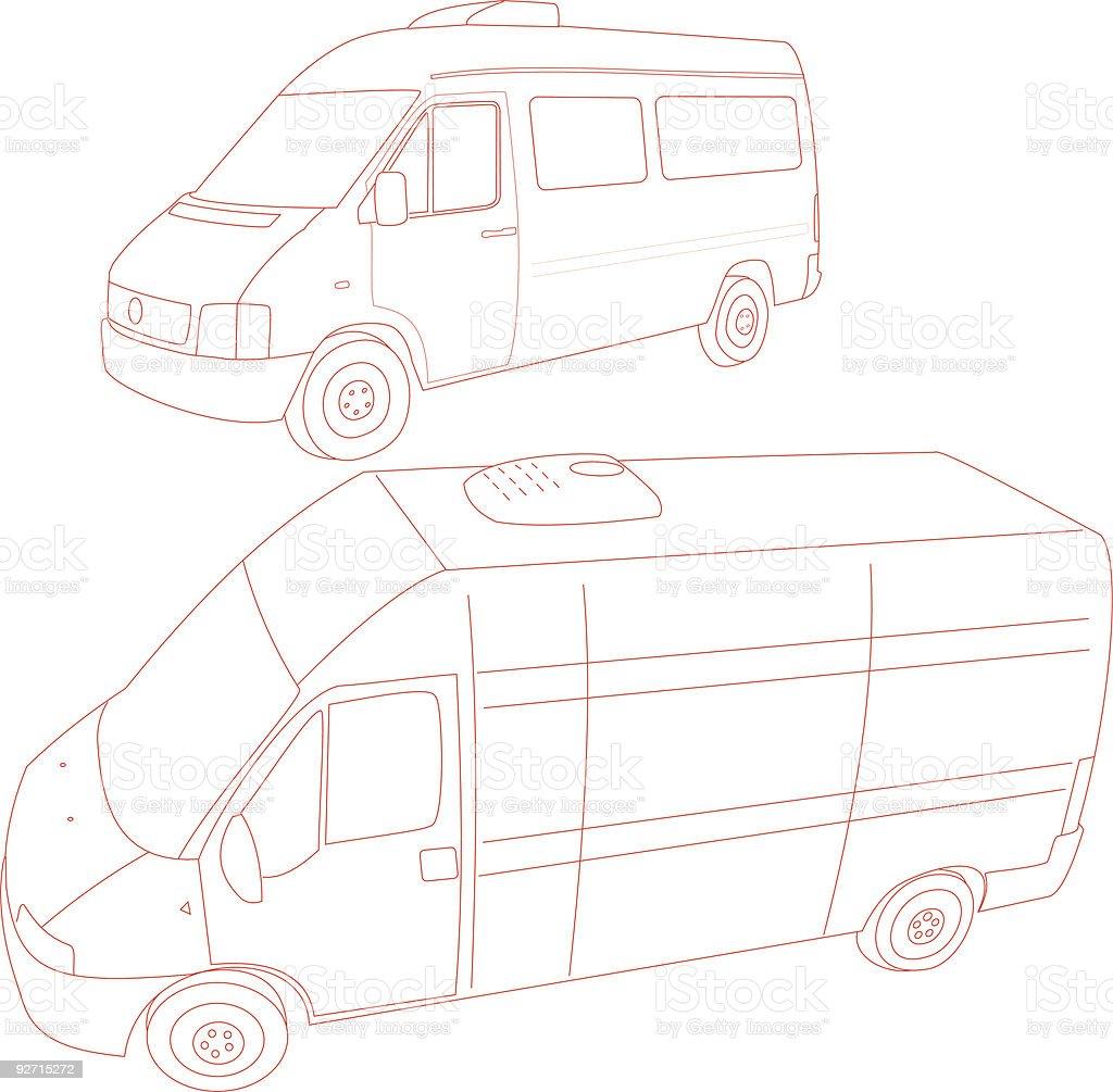 Van - Trace vector art illustration