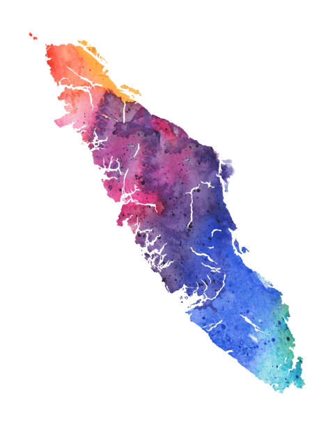 Vancouver Island Raster Watercolor Map Vancouver Island Raster Watercolor Map vancouver island stock illustrations