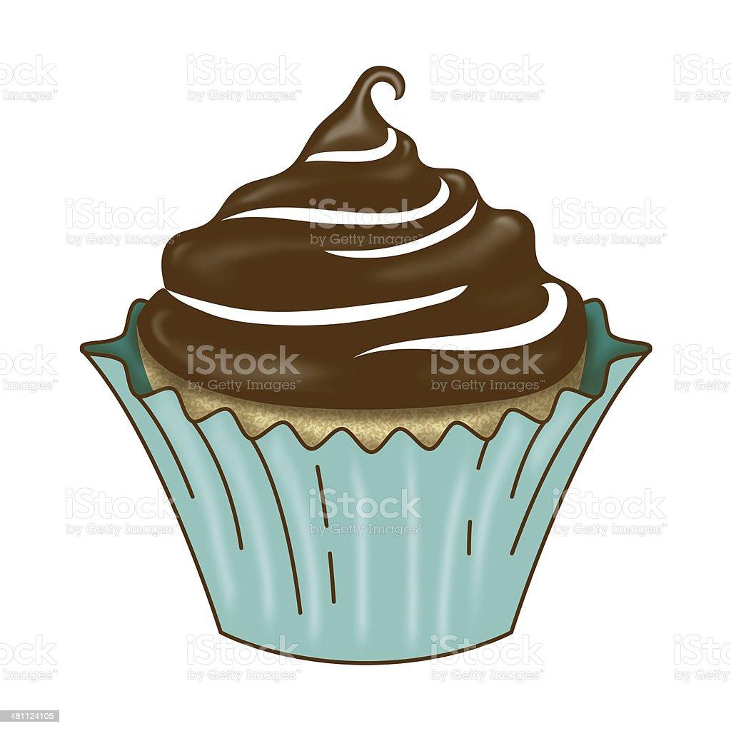 Vanilla Cupcake with Dark Chocolate Icing vector art illustration