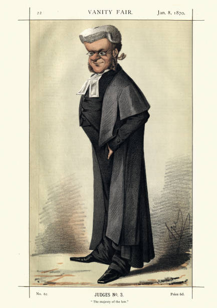 Vanity fair caricature of Chief Justice William Bovill Vintage engraving of William Bovill. The majesty of the law.  From Vanity Fair1869.  Chromolithograph. An English lawyer, politician and judge. He served as Chief Justice of the Common Pleas between 1866 and his death in 1873. chief justice stock illustrations