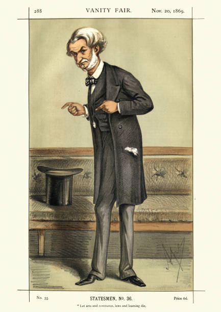 vanity fair caricature of john manners, 7th duke of rutland - old man picture pictures stock illustrations, clip art, cartoons, & icons
