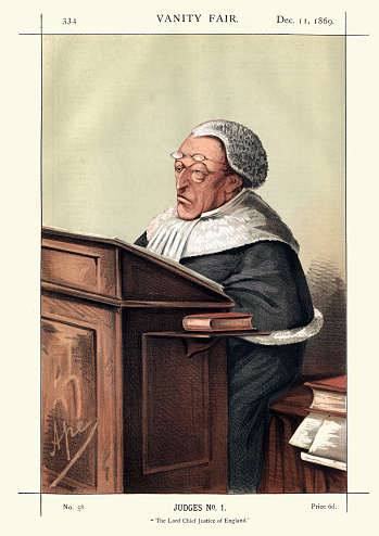 Vintage engraving of Sir Alexander Cockburn, 12th Baronet.The Lord Chief Justice of England.  From Vanity Fair1869.  Chromolithograph. A Scottish jurist and politician who served as the Lord Chief Justice for 21 years. A notorious womaniser and socialite, he heard some of the leading causes celebres of the nineteenth century.