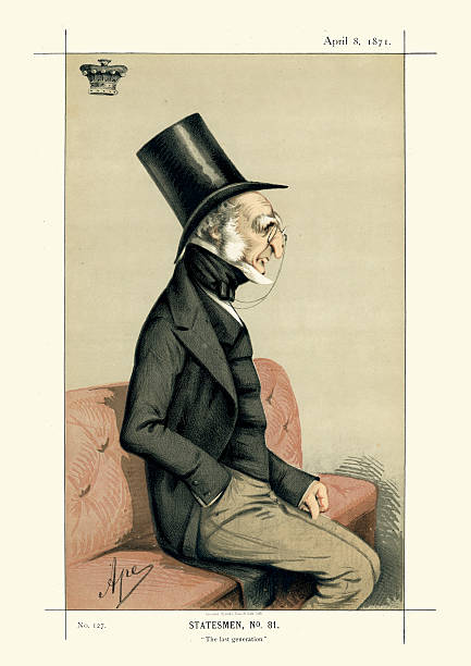vanity fair print of dudley ryder, 2nd earl of harrowby - old man funny pictures stock illustrations, clip art, cartoons, & icons