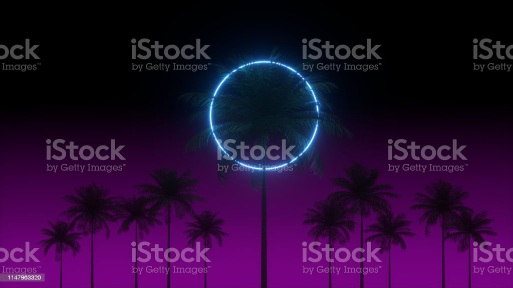 3d Vaporwave Render Background With Neon Circle Palms And Night