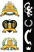 A vector illustration with 3 variations of a beer vintage emblem. Reversed Separate elements over black.
