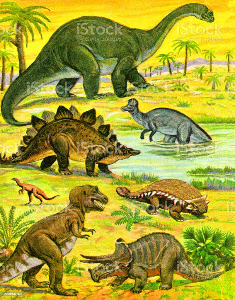 Variety Of Dinosaurs Stock Illustration - Download Image ...