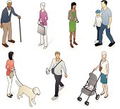 """""""A variety of people, casually dressed, in isometric view."""""""
