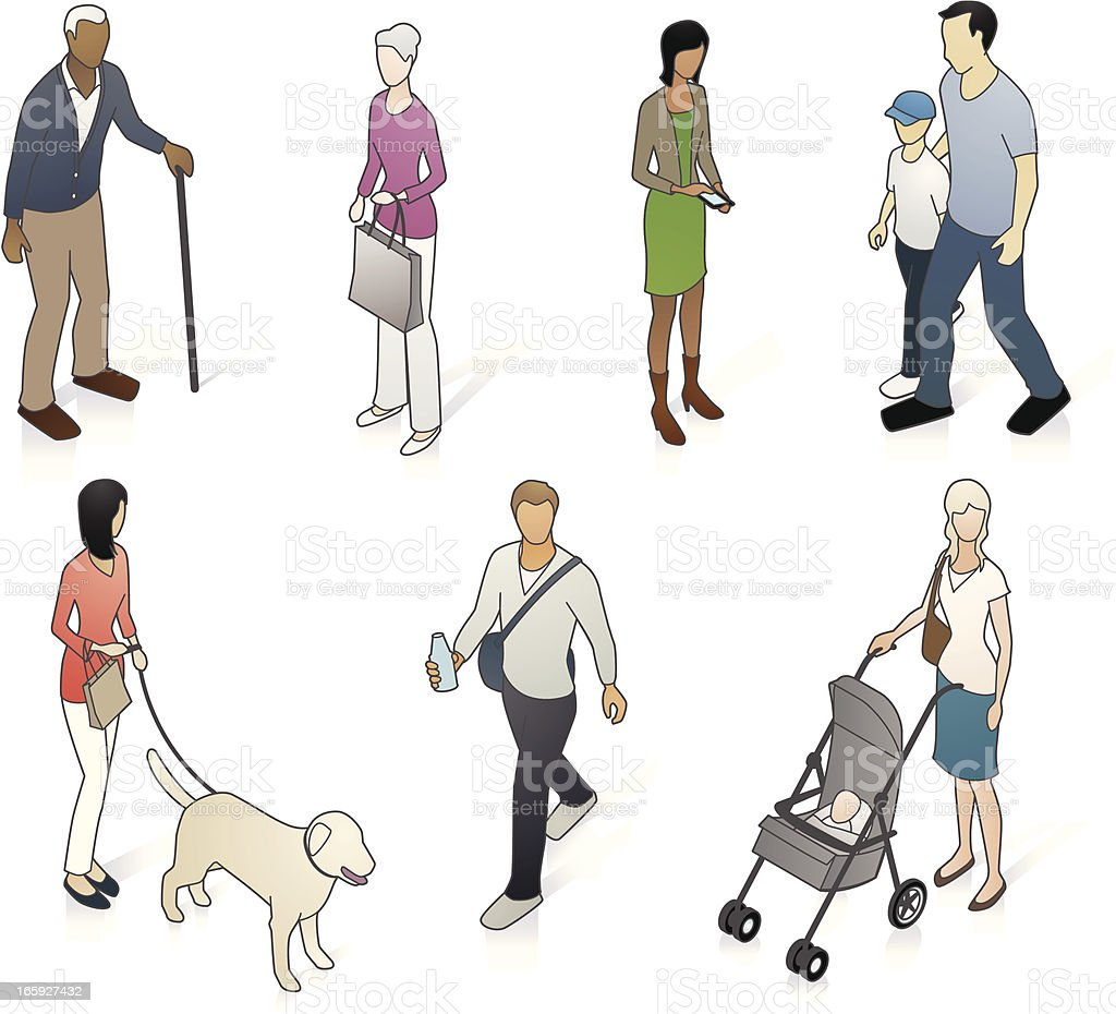 Variety of isometric neighborhood people vector art illustration