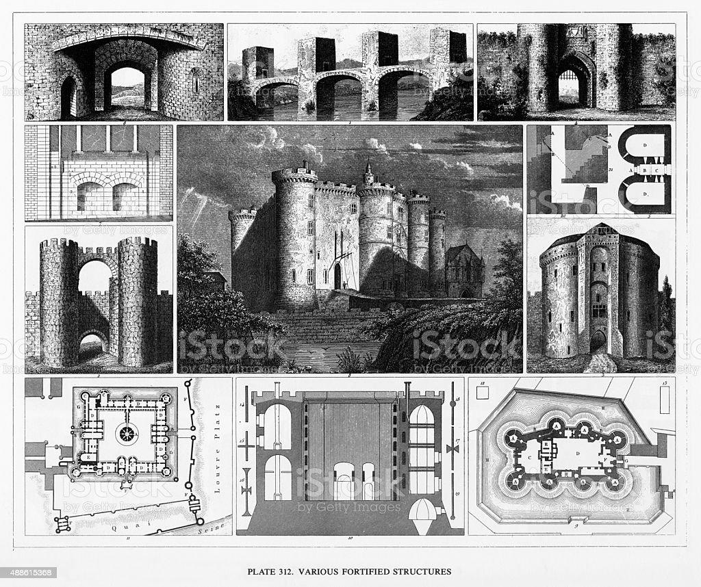 Différentes Structures châteaux et renforcé gravée de l'inscription - Illustration vectorielle