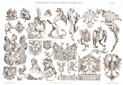 Various coats of arms. From Venetian Ornaments 1883