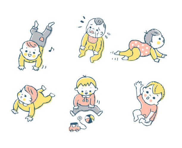 赤ちゃんの様々な表現セット - 泣く点のイラスト素材/クリップアート素材/マンガ素材/アイコン素材