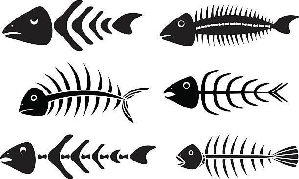 な fishbones ステンシル - 魚の骨点のイラスト素材/クリップアート素材/マンガ素材/アイコン素材