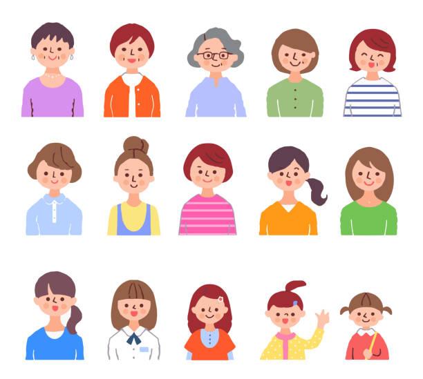 様々な世代の女性セット - 主婦 日本人点のイラスト素材/クリップアート素材/マンガ素材/アイコン素材
