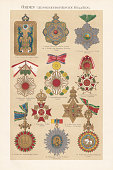 Various historical international medals (except Europe), chromolithograph, published in 1897