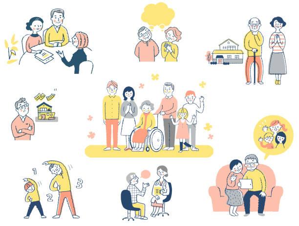 高齢者向けの様々なライフシーン - オペレーター 日本人点のイラスト素材/クリップアート素材/マンガ素材/アイコン素材