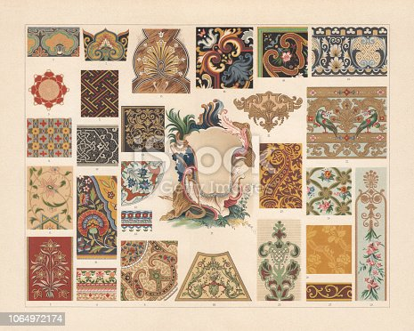 Various patterns of the Baroque and Asia: 1 - 2) Chinese enamel painting; 3 - 4) Japanese enamel painting; 5) Japanese painting; 6 - 8) Indian manuscript ornaments; 9) Indian lacquer painting; 10) Persian Niello; 11) Persian carpet ornament; 12 - 13) Persian fayences; 14) French marquetry (18th century); 15) inlay (table top, 18th century); 16) French embroidery (17th century); 17) French cartouche (18th century); 18) Decoration painting from Versaille, France (Early 18th century); 19) French marble mosaic (17th century); 20) French fayence painting (17th century); 21) French embroidery (18th century); 22) Painted leather (France, 18th century); 23) Embroidery (17th century); 24) French porcelain painting (18th century); 25) Silk cloth (17th century); 26) Furniture upholstery fabric (at the time of Louis XVI); 27) Embroidered border (France); 28) Decoration painting (18th century). Chromolithograph, published in 1897.