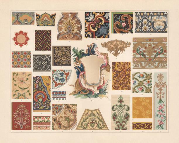 stockillustraties, clipart, cartoons en iconen met verschillende patronen in de barok en azië, chromolithograph, 1897 gepubliceerd - 18e eeuw