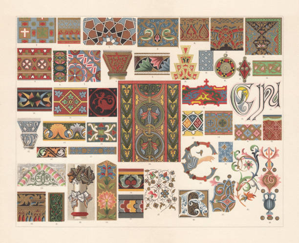Various patterns of the Middle Ages, chromolithograph, published in 1897 Various patterns of the Middle Ages: 1) Early christian mosaic; 2 - 4) Byzantine mosaics; 5) Byzantine capital; 6) Early christian capita; 7) Arabian mosaic; 8 - 9) Arab miniature art; 10) Arab ornament of a roof ridge crown; 11 - 12) Moorish stucco; 13) Moorish mosaic; 14 - 15) Persian miniature art; 16 - 17) Gaulish clasps; 18 - 19) Early Russian miniature art; 20 - 24) Romanesque wall paintings; 25) Early French quarry tile; 26) Romanesque enamel; 27) Early French enamel; 28) Early Swedish wall painting; 29) Gothic tympanum; 30 - 31) Gothic painted wood carvings; 32) Gotic capital; 33) Gotic embroidery; 34 - 35) Gothic wall paintings; 36 - 37) Irish initials; 38 - 39) Byzantine miniature art; 40 - 44) Italian miniature art; 45) Gothic miniature art; 46) Gothic initial; 47) Flanderian miniature art. Chromolithograph, published in 1897. romanesque stock illustrations