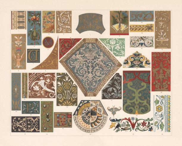 bildbanksillustrationer, clip art samt tecknat material och ikoner med olika mönster av renässansen, chromolithograph, publicerad 1897 - emalj
