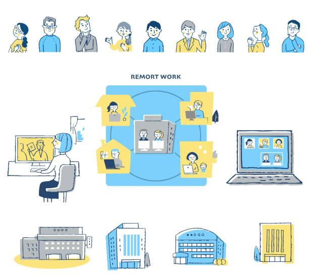 illustrazioni stock, clip art, cartoni animati e icone di tendenza di various remote work image sets - solo giapponesi