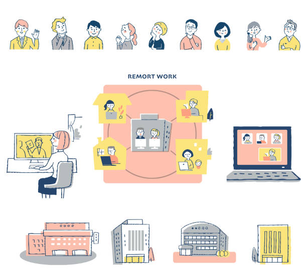 各種リモートワークイメージセット - テレビ会議 日本人点のイラスト素材/クリップアート素材/マンガ素材/アイコン素材