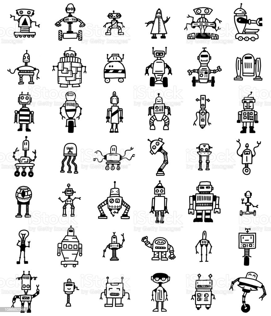 various robot drawings doodles vector art illustration