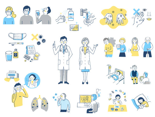 Various sets of infection control and prevention by virus Medical, disease, illness, people, healthcare medical illustrations stock illustrations