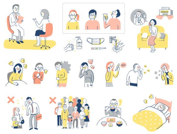 ilustrações, clipart, desenhos animados e ícones de vários conjuntos de sintomas e prevenção de doenças infecciosas causadas por vírus - enfermeira