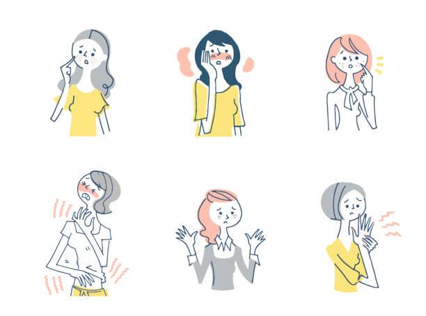 illustrations, cliparts, dessins animés et icônes de divers ensembles de problèmes de peau des femmes - femme tache de rousseur
