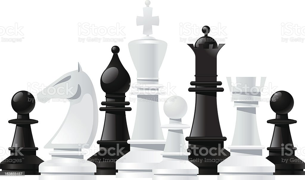 various strategy chess game pieces vector art illustration