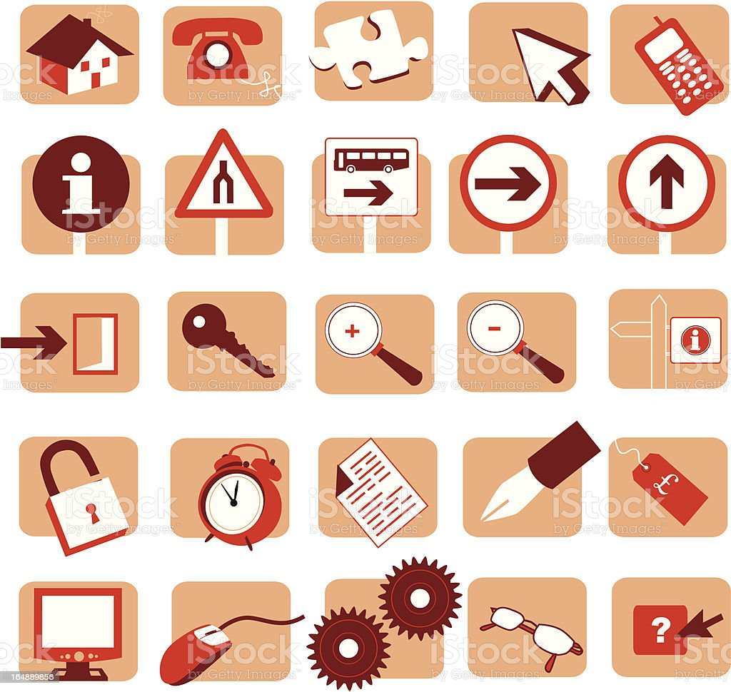 various symbols in red royalty-free stock vector art
