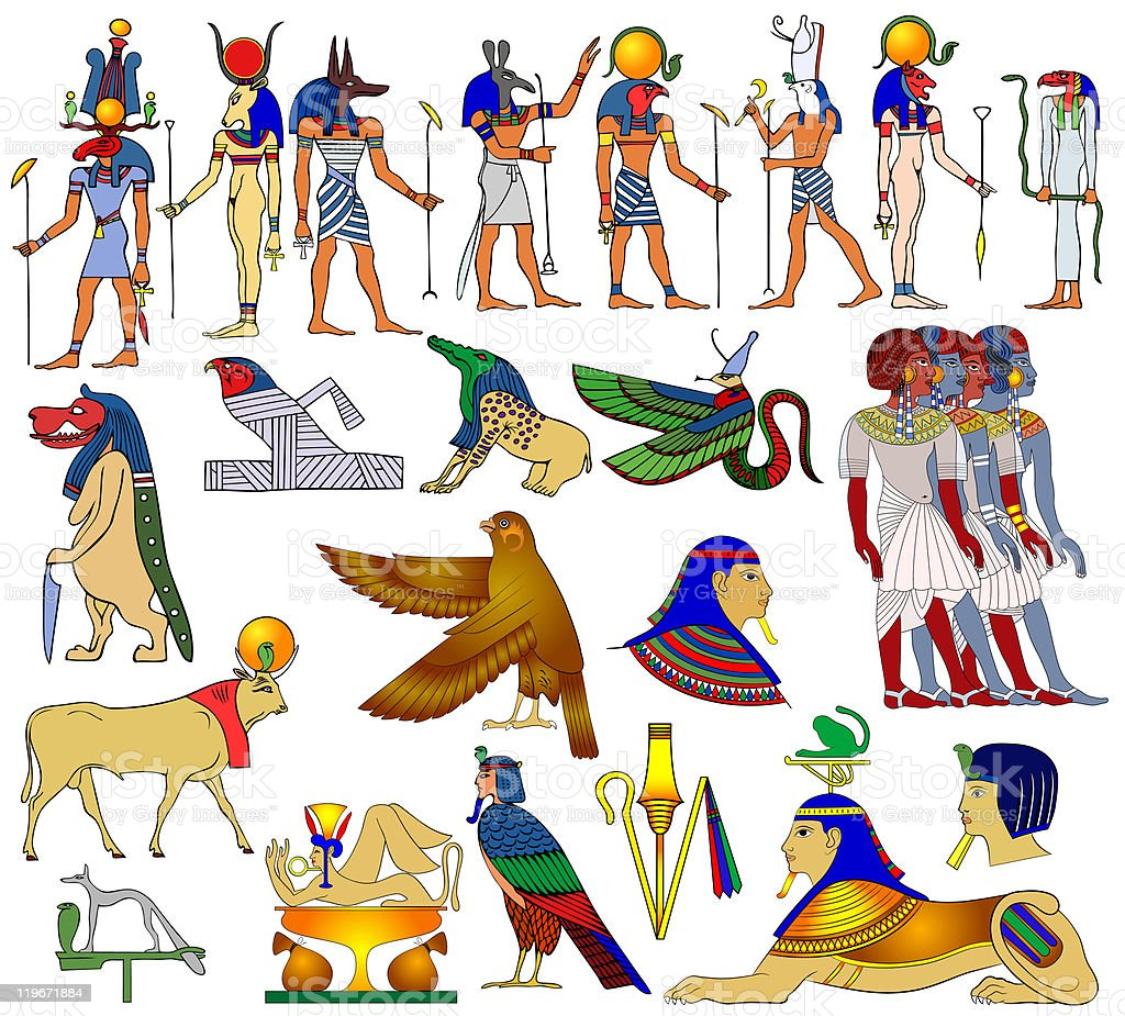 Various themes, gods, animals from the ancient Egypt vector art illustration