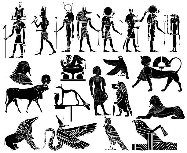 Various themes of ancient Egypt vector art illustration