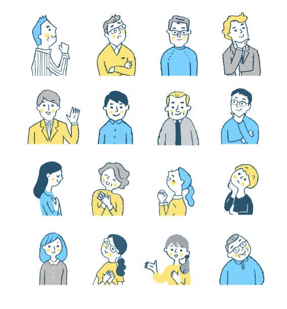 illustrazioni stock, clip art, cartoni animati e icone di tendenza di various types of men and women - solo giapponesi