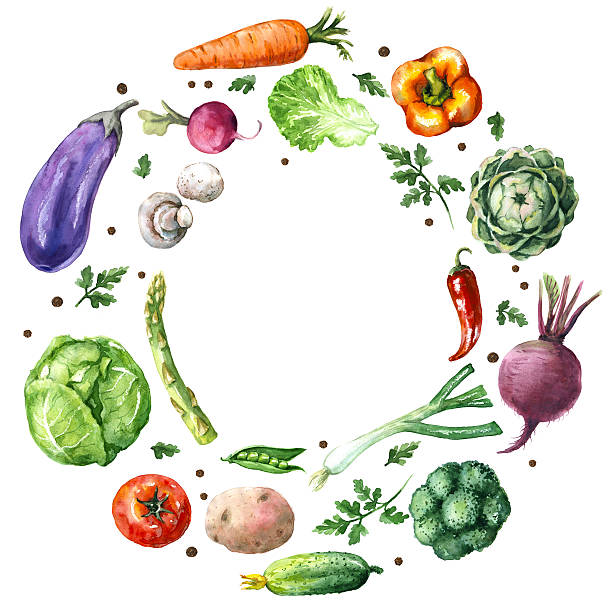 Various Vegetables Round Frame Hand drawn watercolor illustration. Set of organic products. Round frame of various vegetables isolated on white. cooking borders stock illustrations