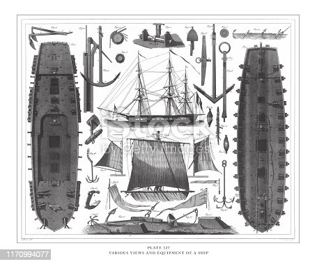 Various Views and Equipment of a Ship Ages Engraving Antique Illustration, Published 1851. Source: Original edition from my own archives. Copyright has expired on this artwork. Digitally restored.