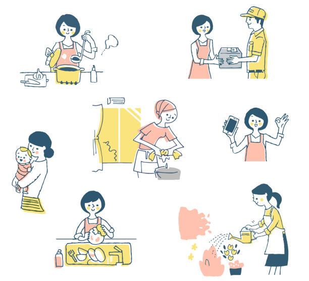 日常の主婦のための様々な仕事のシーン - 主婦 日本人点のイラスト素材/クリップアート素材/マンガ素材/アイコン素材
