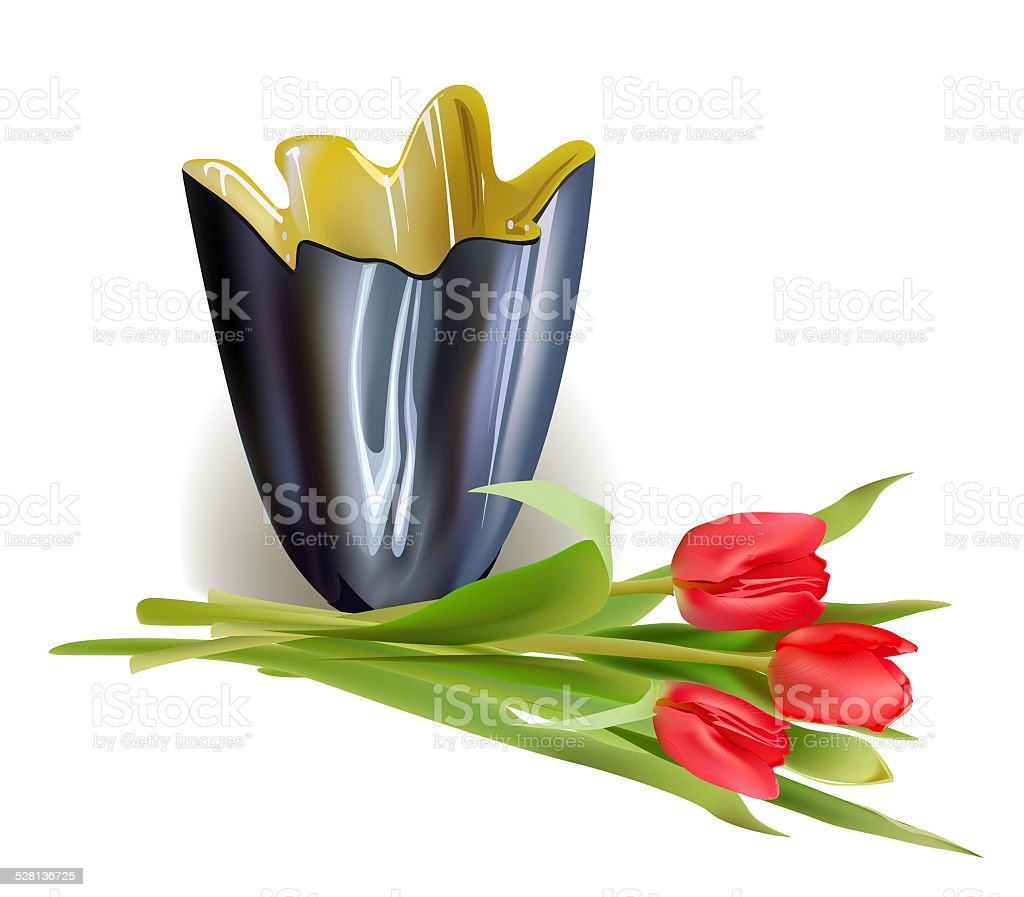 vase and flowers vector art illustration