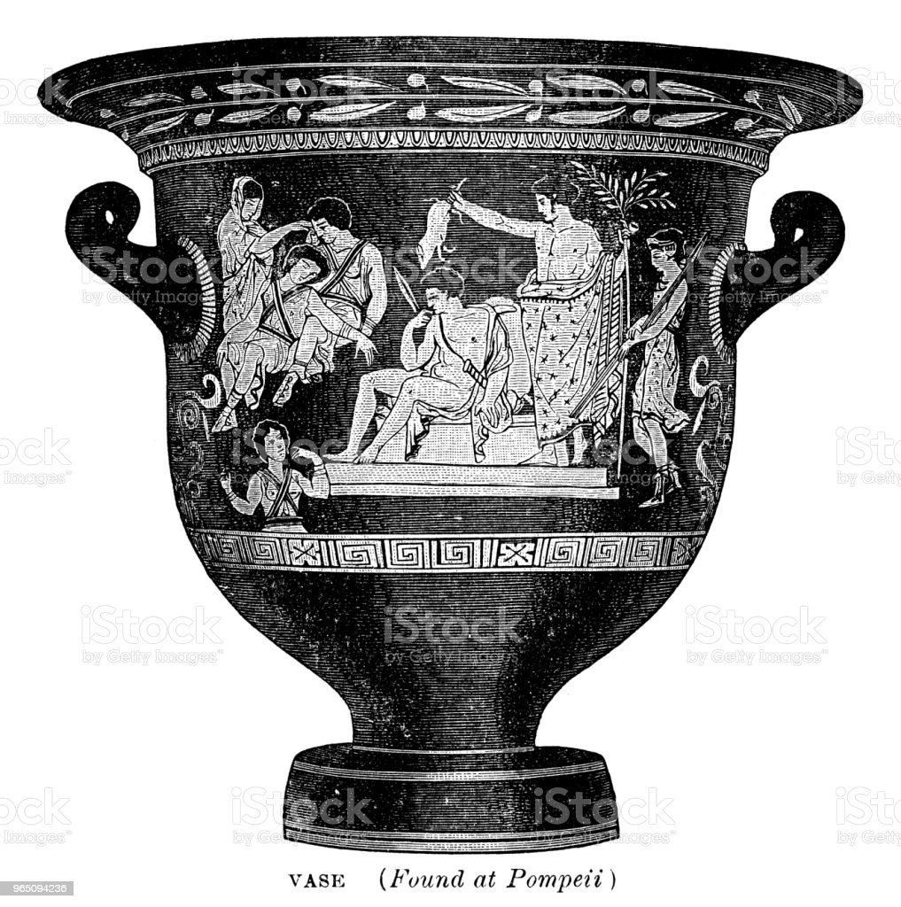 Vase found in Pompeii royalty-free vase found in pompeii stock vector art & more images of 19th century