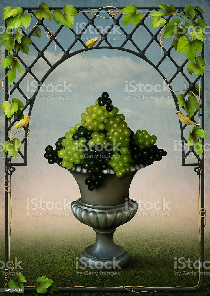 Vase with grapes and vines frame royalty-free stock vector art