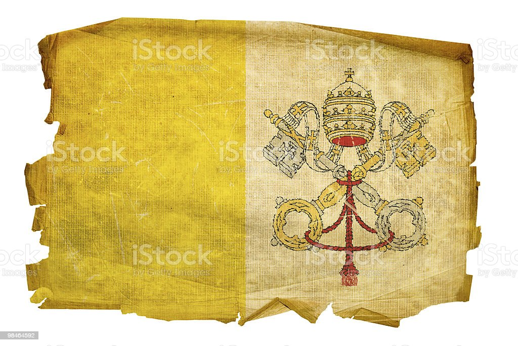 Vatican Flag old, isolated on white background. royalty-free vatican flag old isolated on white background stock vector art & more images of aging process