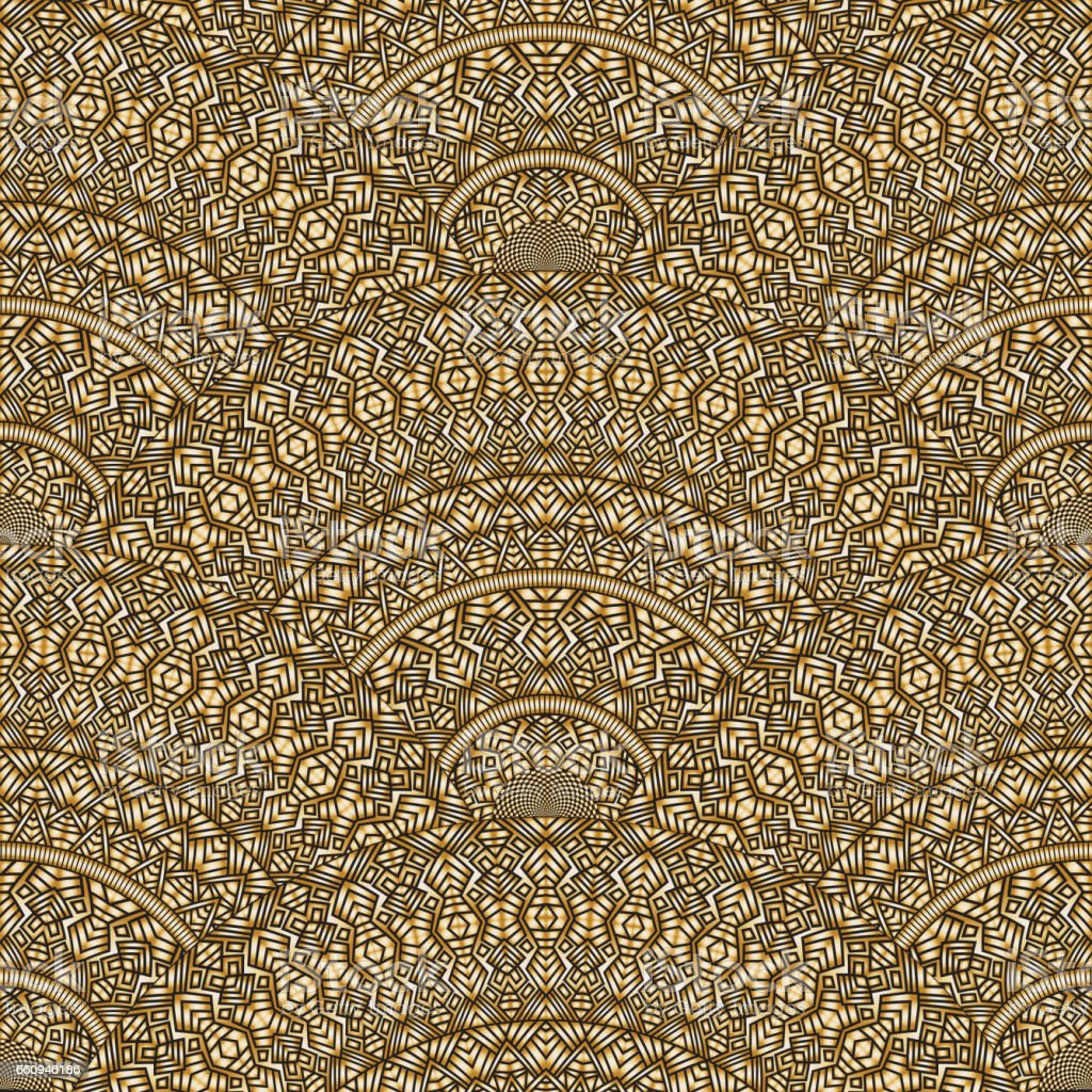 Vector abstract seamless geometrical background from metallic gold  fan shaped ornate elements with ethnic patterns. Golden waves on a black background. Folklore, tribal. Art deco wallpaper, wrapping paper, batik paint, textile print, covering vector art illustration