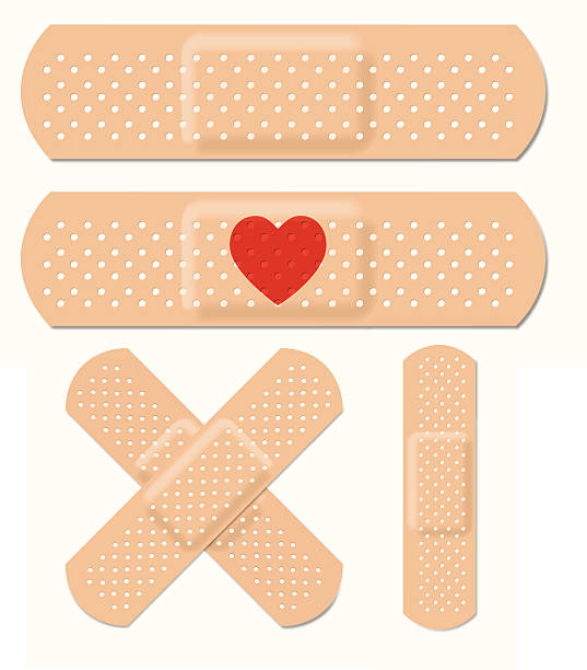 """Vector Adhesive Bandages """"Set of bandages. Holes are cut out of main shape, so the objects can be placed on a colored background and the color will show through. Vector file - will scale to any size without loss of quality. EPS v.10 file - shadows made with Gaussian Blur; transparency on heart shape."""" adhesive bandage stock illustrations"""