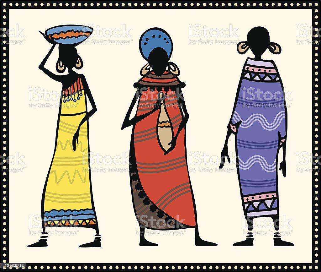 Vector African Women Illustrations vector art illustration