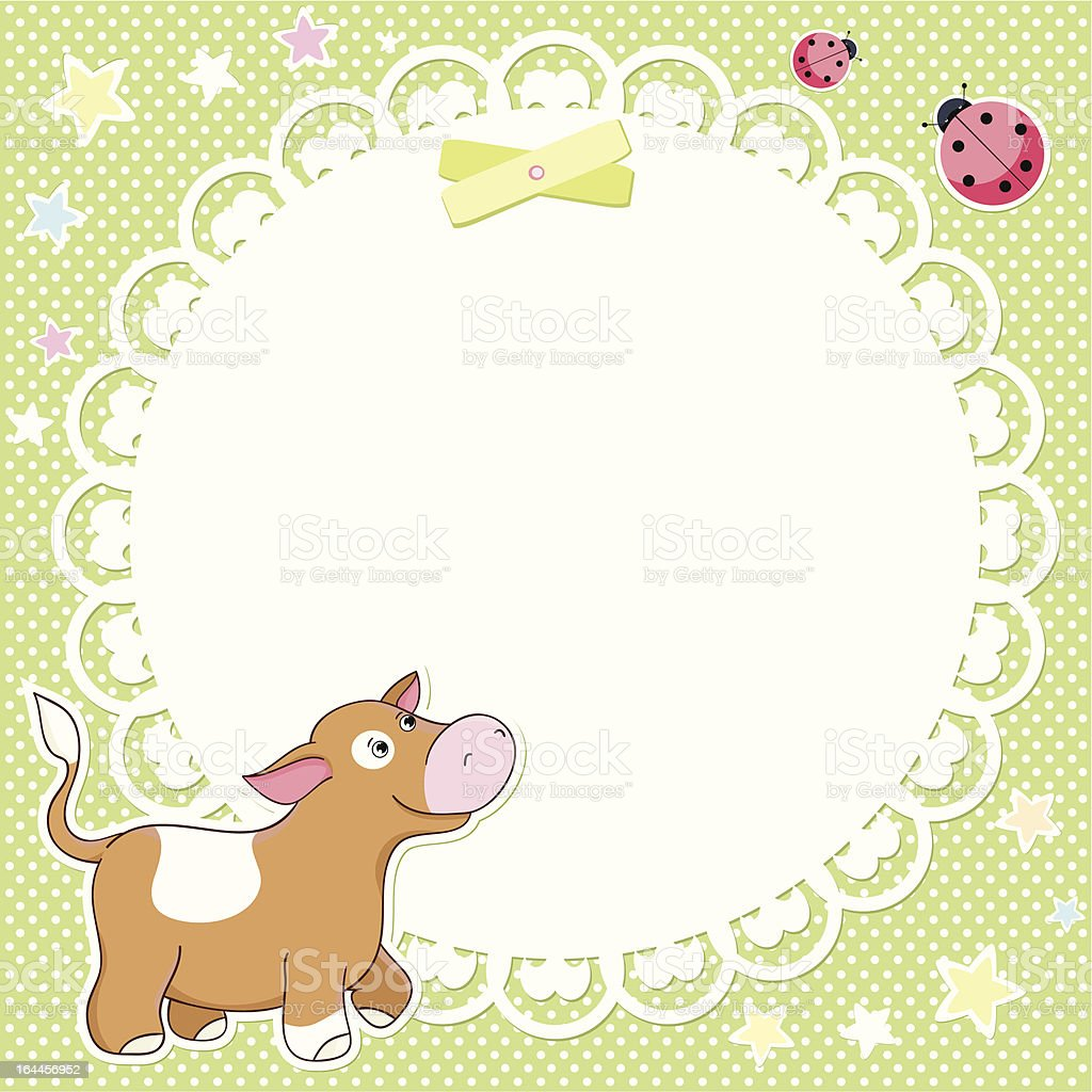 Vector background with cute calf royalty-free stock vector art